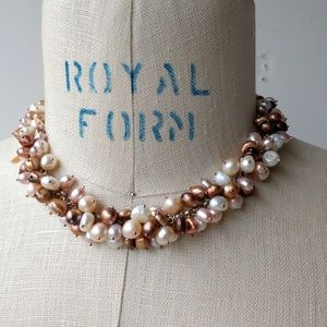 Freshwater pearl choker champagne clusters